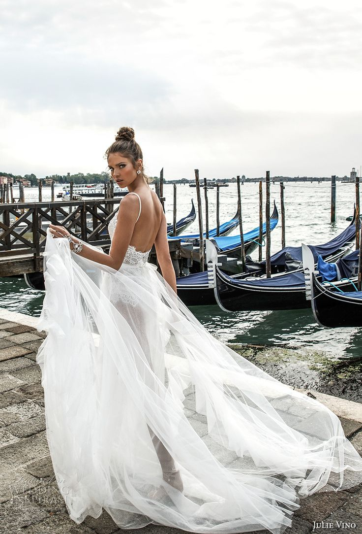 julie vino spring 2018 bridal spagetti strap sweetheart neckline heavily embellished bodice flowy tulle skirt romantic sexy a  line wedding dress open scoop back chapel train (03) bv -- Julie Vino Spring 2018 Wedding Dresses