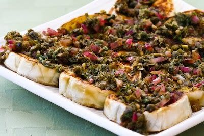 Recipe for Pan-Fried White Eggplant with Onion, Caper, and Herb Sauce