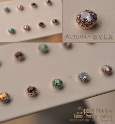 Introducing the Altura by body vision los angeles. We've carried a few of these stunning ends in the past but never like this. Today we received 9 sets of these pieces in White and Rose Gold featuring a rainbow of genuine and created stones. Perfect for earrings, cartilage piercings and microdermals.These really have to be seen to believe!