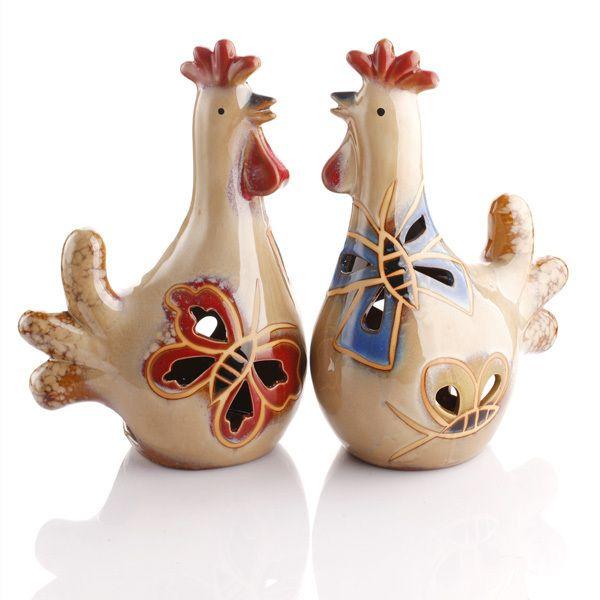 Ailikaer garden village decorative ceramic Rooster Crystal decoration candle holder new year gift_1