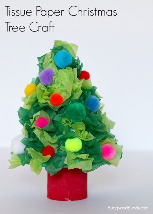 Christmas Tree Craft for Kids using tissue paper and toilet paper roll- Turn a cardboard tube and tissue paper into a simple holiday craft for kids of all ages! Fun homemade decoration for the home or classroom! ~ http://BuggyandBuddy.com