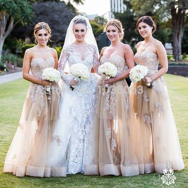 Goedkope goedkope prijs champagne lieverd lange vrouwen vintage bruiloft bruidsmeisje jurken feestjurk jurken vestidos 2014, koop Kwaliteit Bruidsmeisjekleding rechtstreeks van Leveranciers van China:
