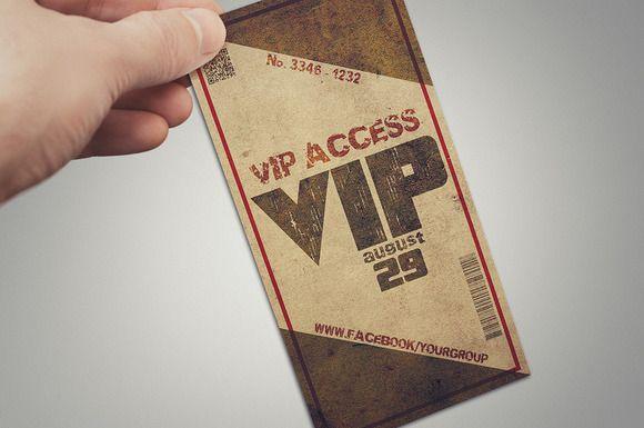 Grunge VIP PASS card by Tzochko on Creative Market