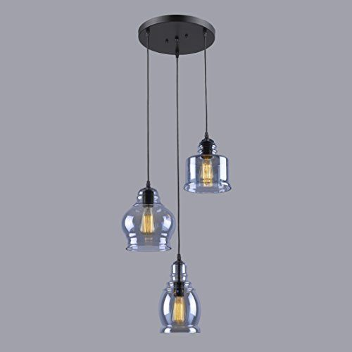 Kitchen Pendant Light Fixtures Amazon Com: CLAXY® Ecopower Vintage Kitchen Linear Island Glass