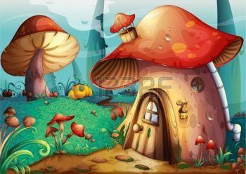 Une illustration de la maison de fantaisie champignon: illustration de la maison champignon rouge sur un fond bleu Illustration