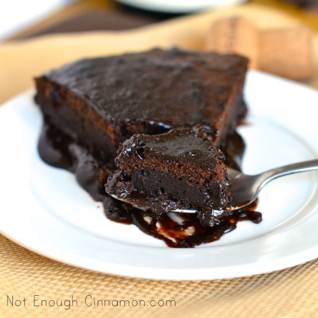 Decadent Ooey Gooey Chocolate Cake (from www.notenoughcinnamon.com)