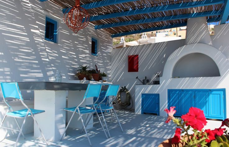 Pergola-White-Blue-Cob-Outdoor-Barbeque-Flowers-Santorini