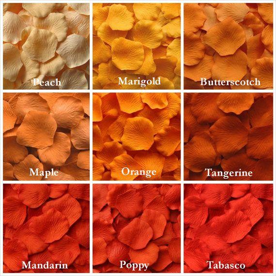 Orange Rose Petals, Fall Rose Petals, Silk Rose Petals, Fake Rose Petals, rose petals for aisle runners, flower girl petals
