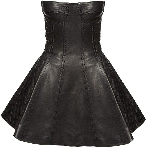 Balmain Leather Bustier Dress ($7,515) ❤ liked on Polyvore