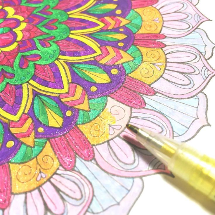 "Mental Images Coloring Books (@paivivesala_art) on Instagram: ""Sometimes I like to color a page twice. This mandala was colored with rainbow gel pens. I'm…"""