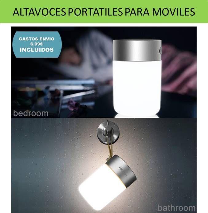 Tecnologia y electronica: altavoces portatiles bluetooth para moviles. Altavoces inalambricos con luz y cargador de baterias para moviles y tablets.