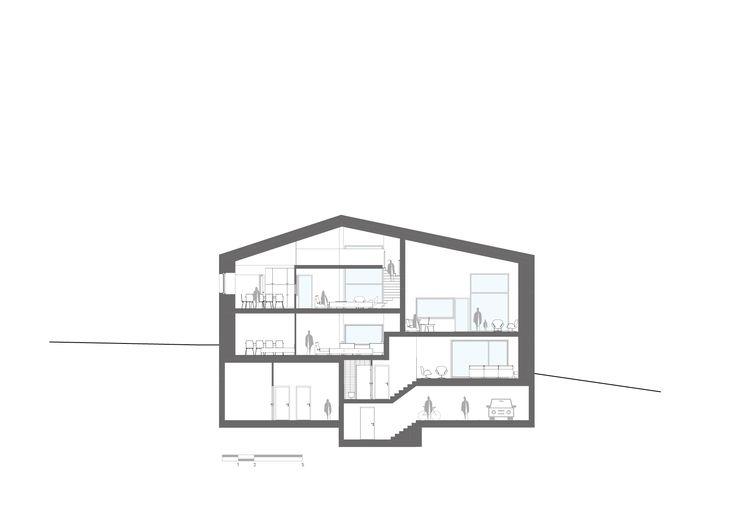 Section, architectural drawing for Oslo apartment complex by Various Architects. / Snitt arkitektonisk tegning av Oslo leilighetskompleks av Various Architects AS.
