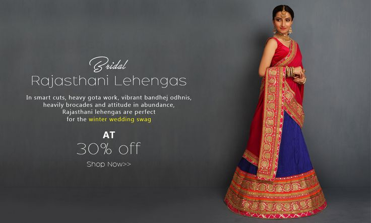 Long, embroidered in #traditional #gotapatti and dunked in #zaribrocade, #RajasthaniLehengas are an #Indian bride's dream outfit. Get them today on Shatika and avail 30% #discount!