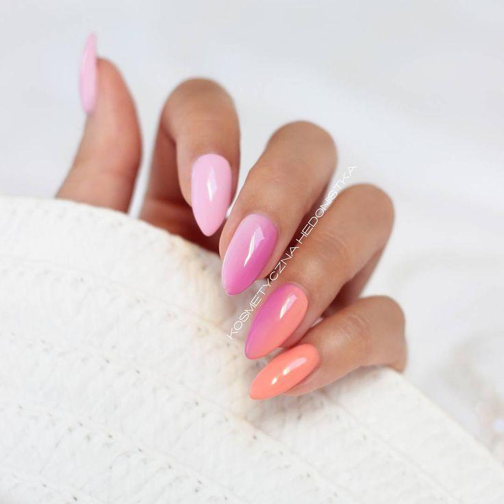 """""""Koktajlowe,  pastelowe,  wakacyjne  Od lewej: Semilac Pink Smile, gradient Pink Smile z Baby Girl na środkowym,  gradient Baby Girl z Peach Milk na…"""""""