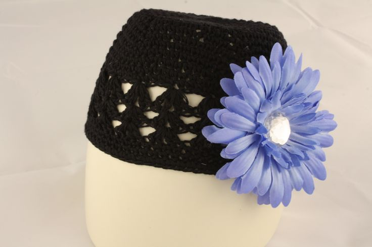 Black Knit Hat with Blue Flower