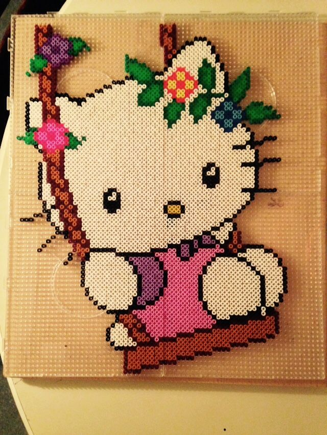Hello Kitty in a Swing - Perler Beads