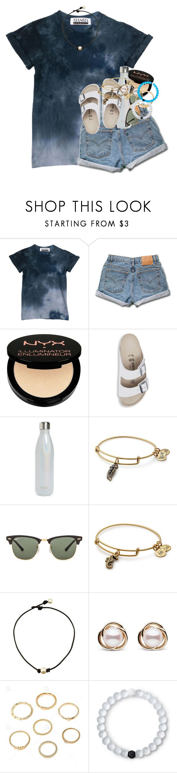 """""""black & blue"""" by emilyandella ❤ liked on Polyvore featuring Levi's, Charlotte Russe, Birkenstock, S'well, Alex and Ani, Ray-Ban, Trilogy and Lokai"""