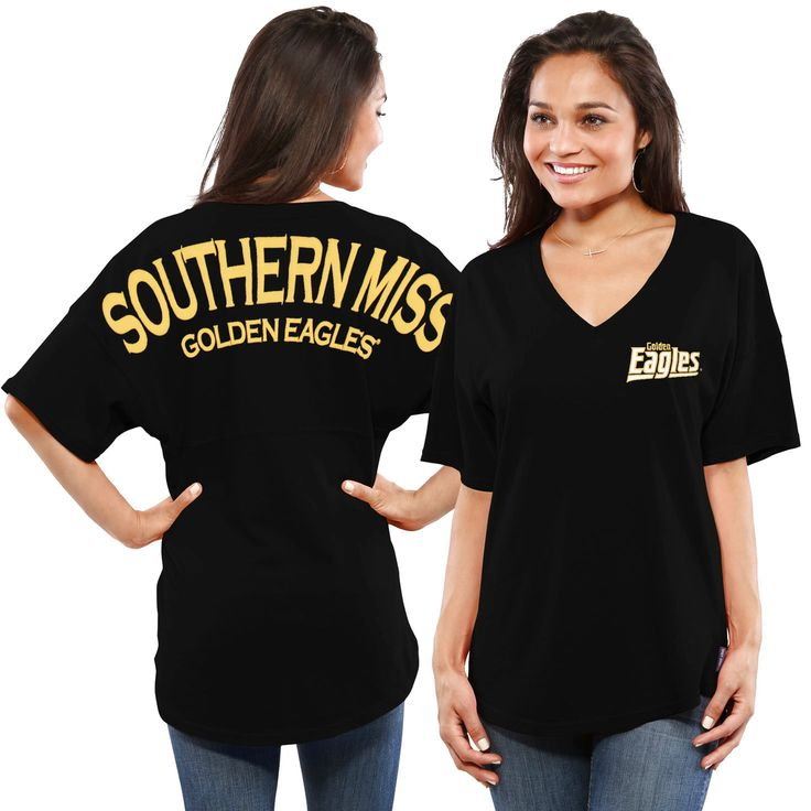 Southern Miss Golden Eagles Women's Spirit Jersey Oversized T-Shirt - Black - $39.99