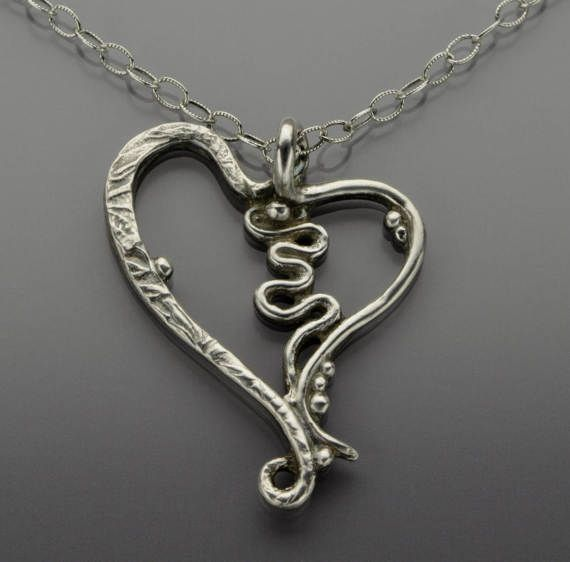 Wavy Sterling Silver Heart Necklace