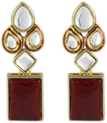 Red Modish Kundan Brass, Alloy Dangle Earring - cooliyo.com