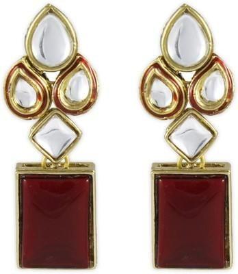 Red Modish Kundan Brass, Alloy Dangle Earring - cooliyo.com