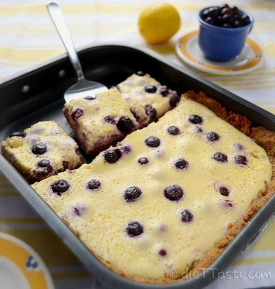 Lemon Blueberry Bars - low-fat, sugar-free, diabetic friendly