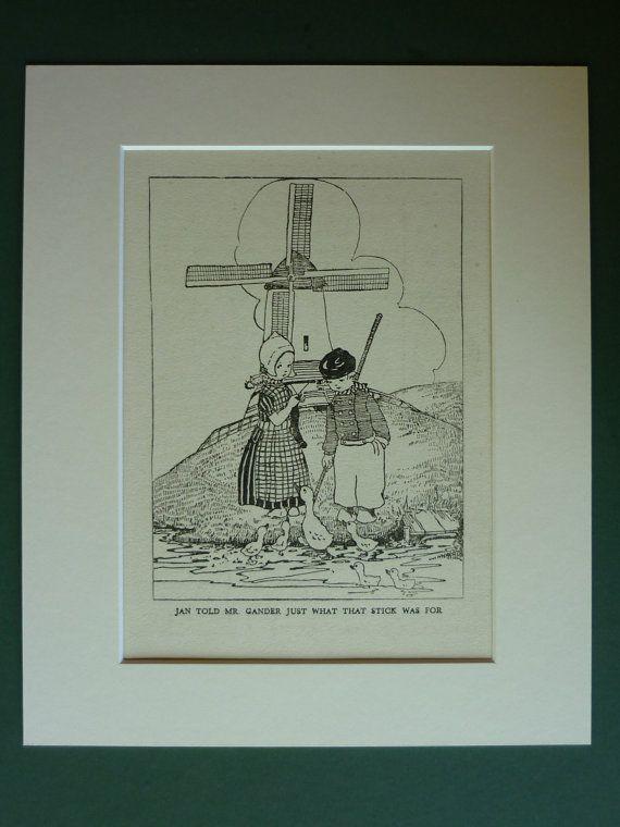 jaren 1920 antieke Art Print - Nederlandse kinderen - kwekerij Decor - Goose…
