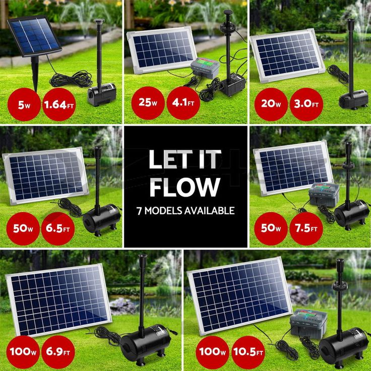 5W 100W Solar Powered Fountain Outdoor Fountains Submersible Water Pump Pond
