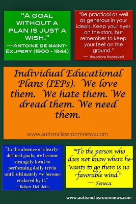 Autism Classroom News: Individual Educational Plans (IEPs). We love them. We hate them. We dread them. We need them.