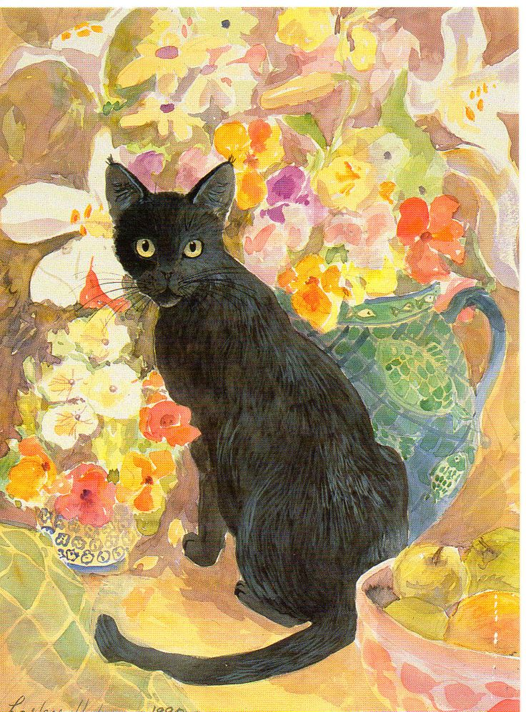 HOLMES, Lesley - Cat and Flowers - watercolour 1991