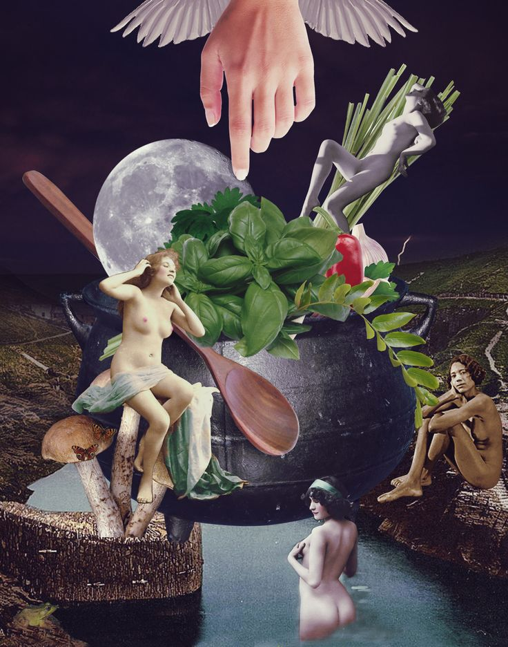 Womens pleasure cooking secrets.  #witch #cooking #women #pleasure #secrets #collage #collageart #art #moon #alchemy