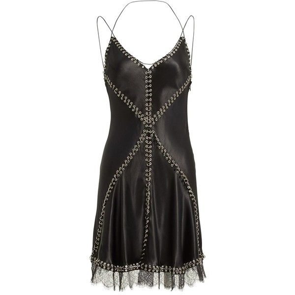 Women's Alexander Wang Pierced Silk Camisole Dress ($1,895) ❤ liked on Polyvore featuring dresses, black, silk camisole, silk cami, strappy cami dress, alexander wang and silk dress