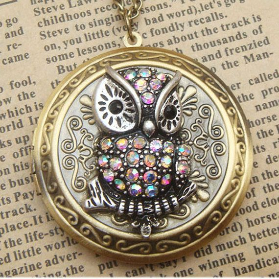 Steampunk Owl Brass Disc Locket Necklace Vintage Style Original Design..need this...want this...