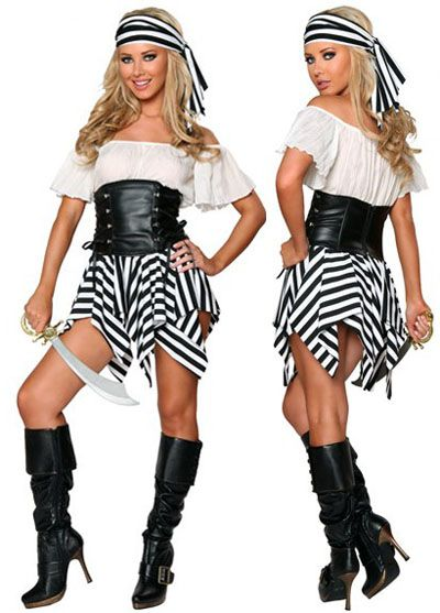$23.59  Fancy Stripes Sexy Women's Pirate Costumes With Leather Corset