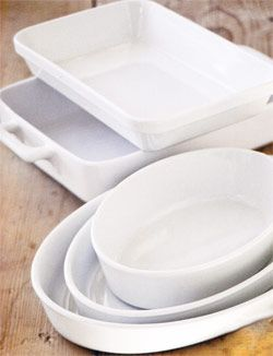 White Bakeware by Apilco and Pilluyvet, Available at DeanDeluca.com and Williams-Sonoma.com. Part of Ina Garten's Tips For The Perfect Kitchen.