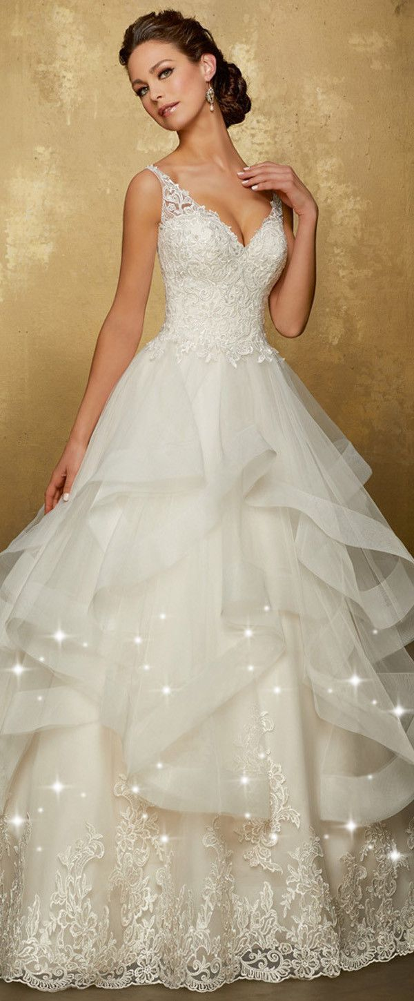 Romantic Tulle V-neck Neckline Low Back Full Length A-Line Wedding Dress With Lace Appliques & Ruffles