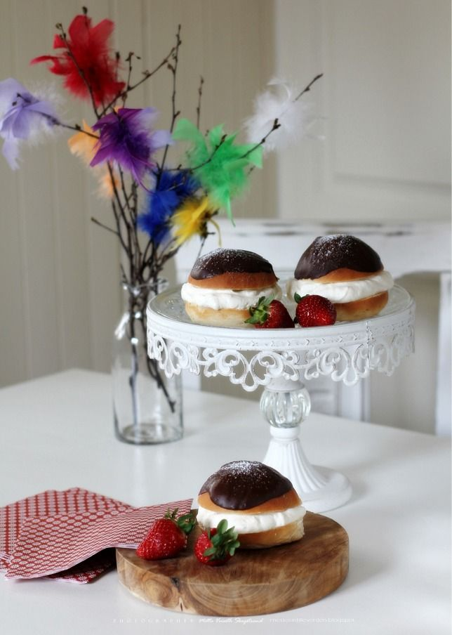 English Cream Puffs (Fastelavnsboller) - Top with chocolate and vanilla cream ...