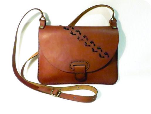 FOOTPRINTS 25cm X 18cm CROSSBODY CLUTCH BAG Genuine leather, Laser cut, Hand stitched
