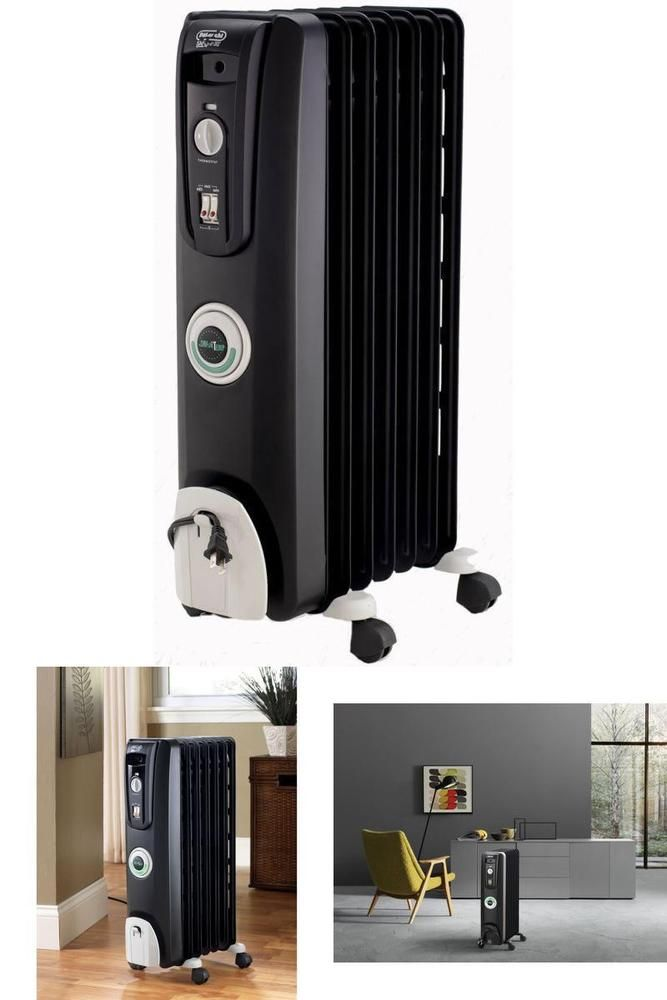 Electric Space Heater 1500W Oil-Filled Radiator with Thermostat Energy Saving  #DeLonghi
