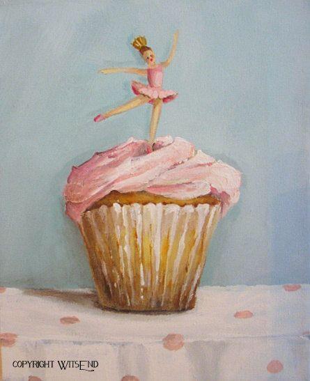 'TINY DANCER' Ballerina Cupcake painting  original ballet dessert art by 4WitsEnd, via Etsy