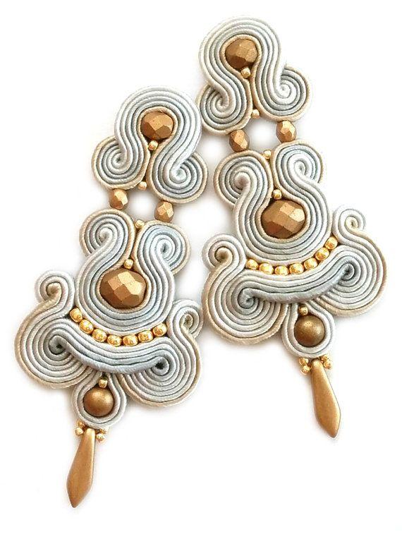 Soutache earrings Clip on earrings Post earrings by SaboDesign