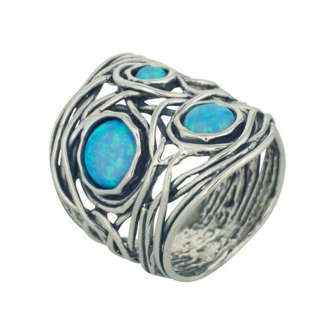 Changing Tides (CT006) Chic 925 sterling silver ring with round, wiry finish topped with three opal stones.