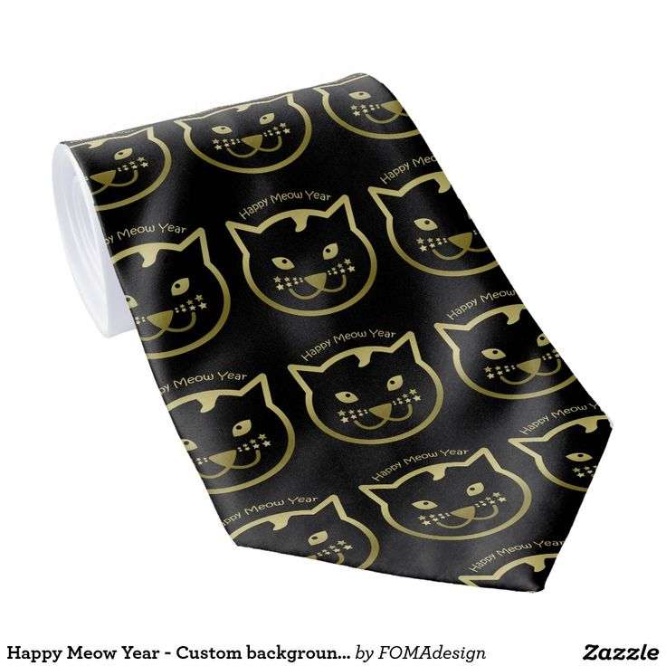Happy Meow Year Tie! Faux gold cat face, with stars as mustaches. A perfect gift for Christmas and the new year. You may add the background color of your choice or leave it black as it is! #fomadesign