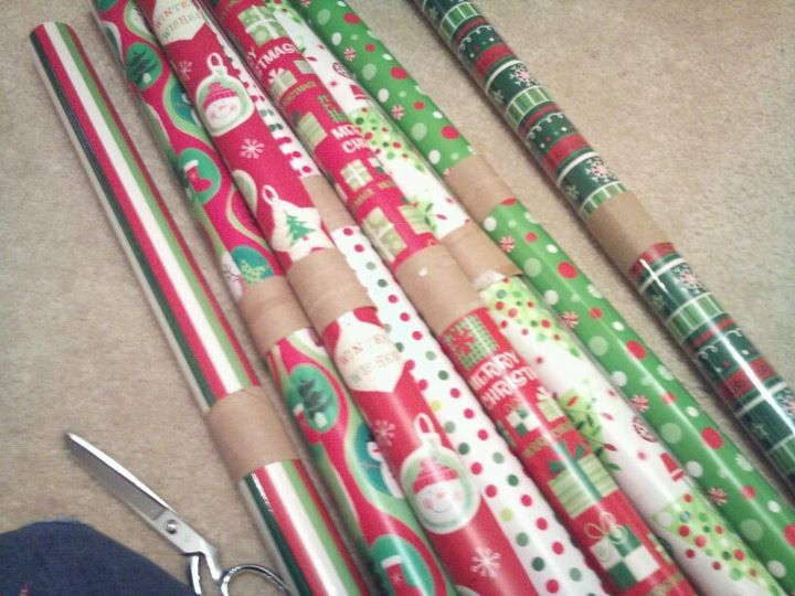 toilet paper rolls to keep the wrapping paper from unraveling.