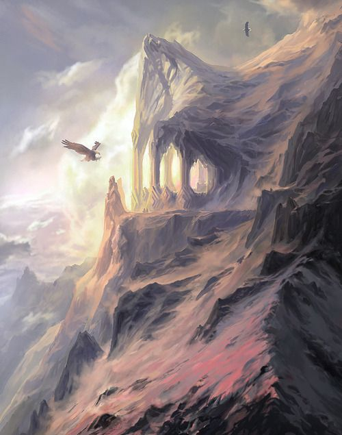 The peaks of the Crissaegrim, wherein the eyries of Thorondor and the great Eagles of the North lay. Mountain Cliff, by Creative Uncut   Tolkien in 2019   Tolkien, Lord of the rings, Middle earth