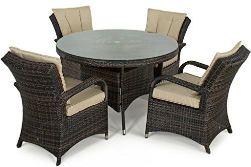 San Diego Rattan Garden Furniture Houston Seater Round Table Set