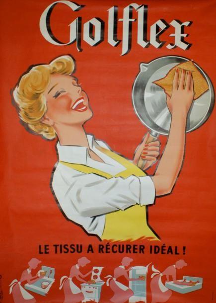 Golflex, le tissu à récurer idéal ! 1960's - (Emmanuel Gaillard) -