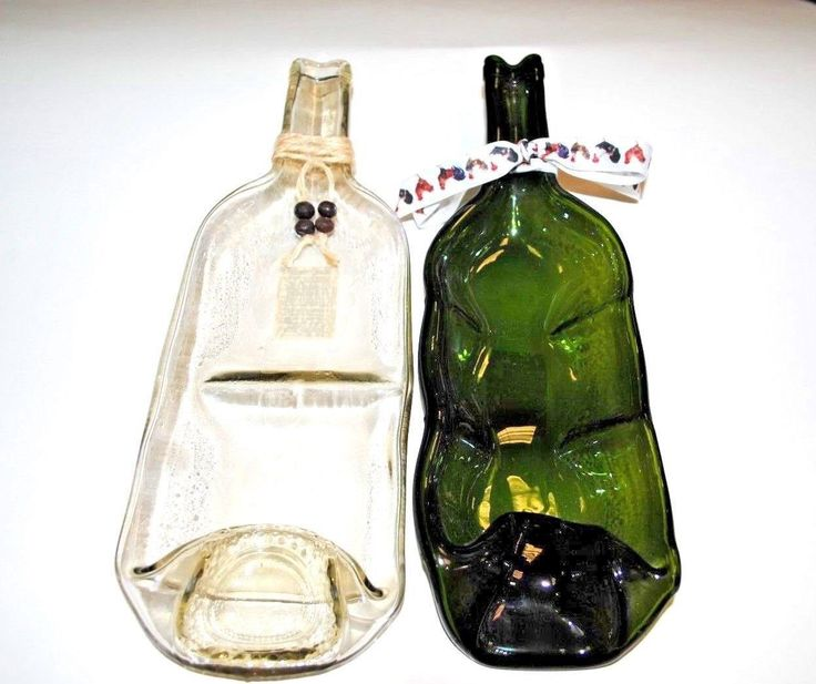 Two Flat wine Bottle,Melting Wine Bottles,Melting Bottle Food tray by OlgasTreasure on Etsy