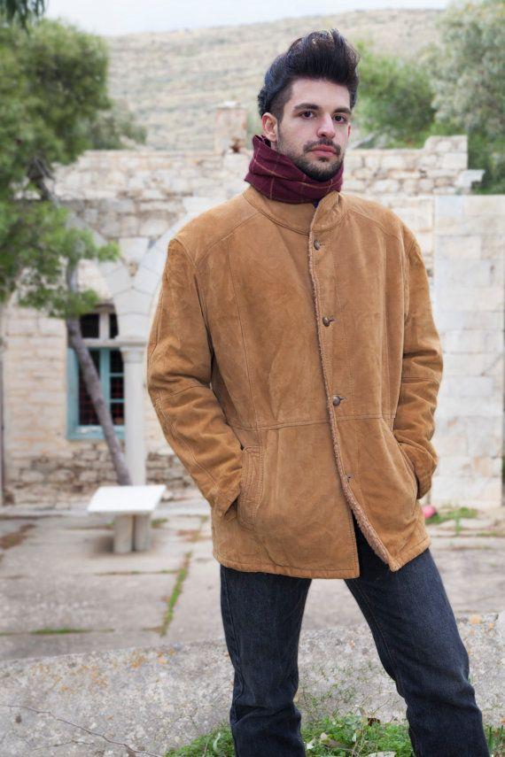 Vintage Sheepskin Jacket, Men's, Real Leather, Beige fur inside - Brown sheep outside