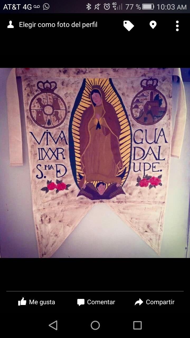 Estandarte de Miguel HIdalgo hecho en manta y pintado a mano